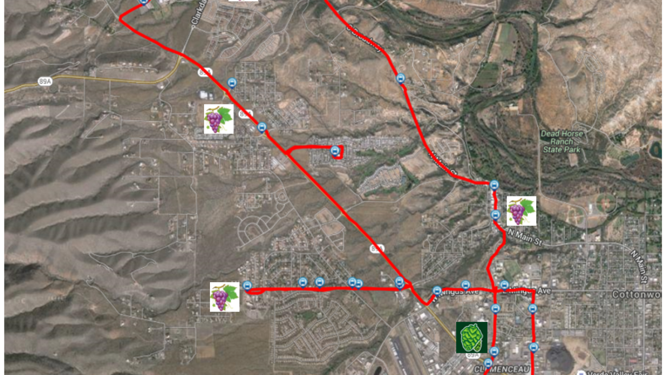 """The """"Red Wine Line"""" map, nicknamed by Clarkdale and a.k.a., the Cottonwood Area Transit System Red Line. For more detail, check out http://cottonwoodaz.gov/media/pdf/CAT-Guide.pdf"""