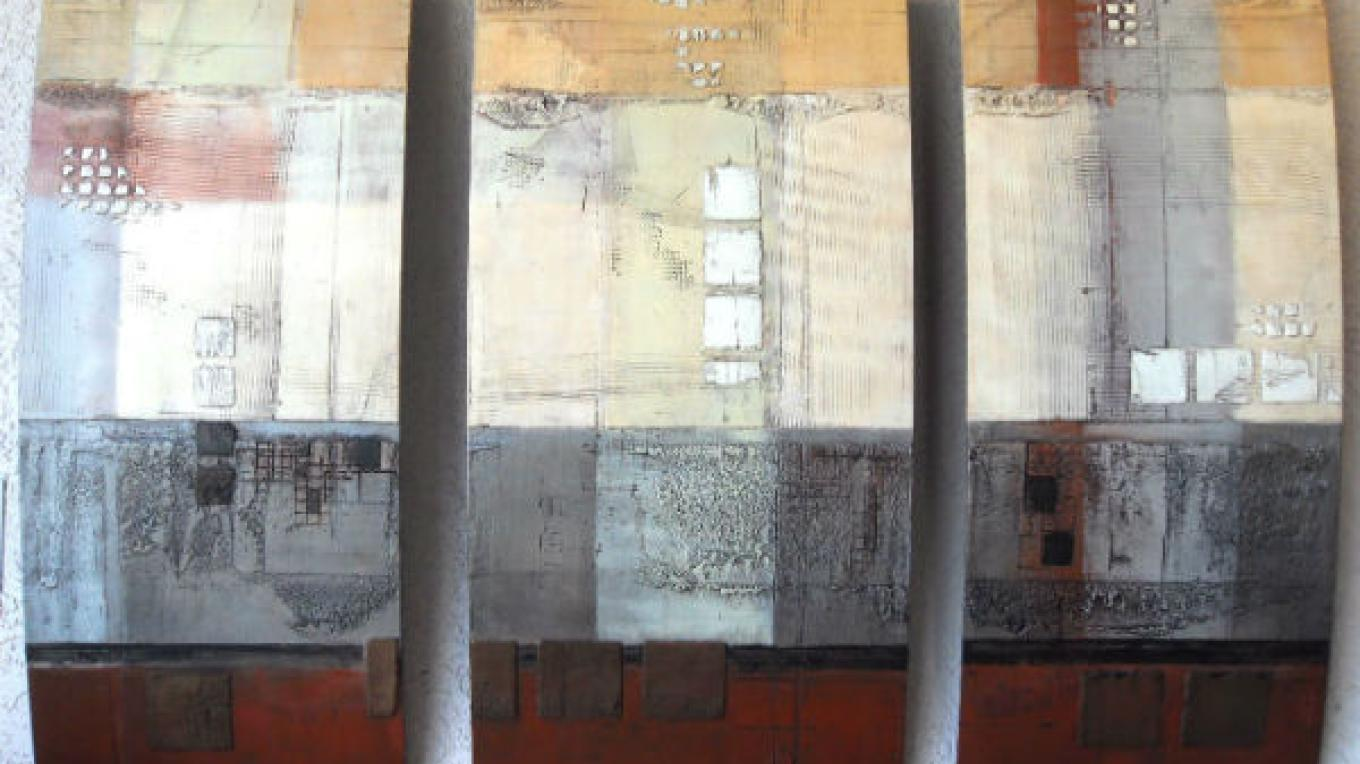 Mixed media triptych by Michael Lawrence Casey – photo by Raku Gallery