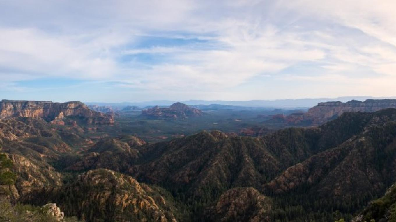 A beautiful panoramic vista of the incredible rock formations of Sedona and the Secret Wilderness region. – Matt Valley