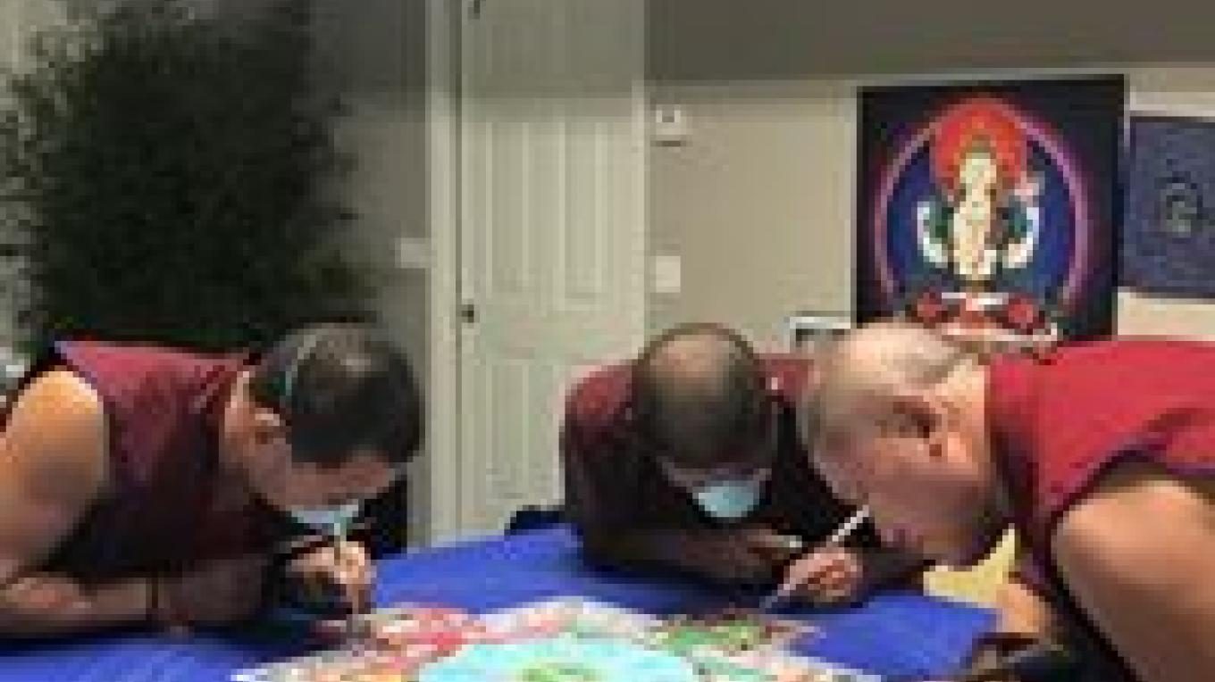 The Gaden Shartse Monks creating an intricate sacred sand Mandala May 26-June 17, 2017.