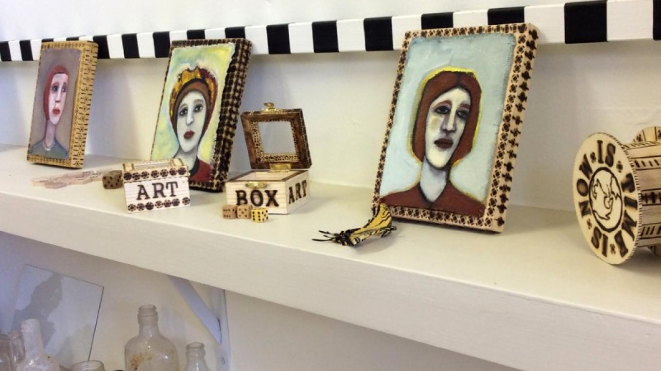 A sampling of Mini Oil Paintings and wood burned Art Boxes by Beth Courtright Detwiler, Old Jerome High School, Jerome Arizona – Word is Art