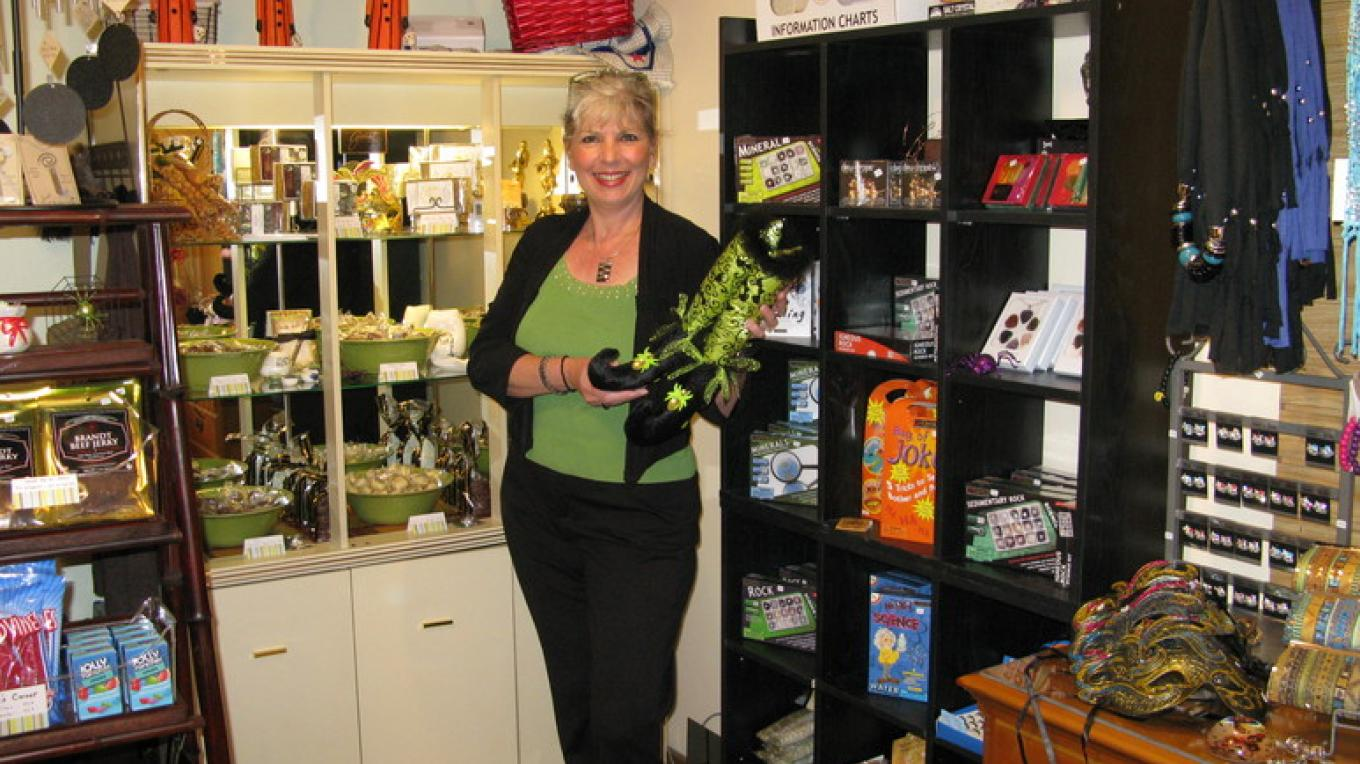 Diane showing off some great buys – Robert & Diane Martin-Owner Operators