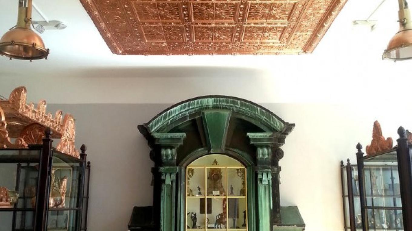 """Art and architecture collection. Dormer from Carnegie Mansion, a religious art room features a copy of the """"Copper Scroll"""" from the Dead Sea. – Arizona Copper Art Museum"""