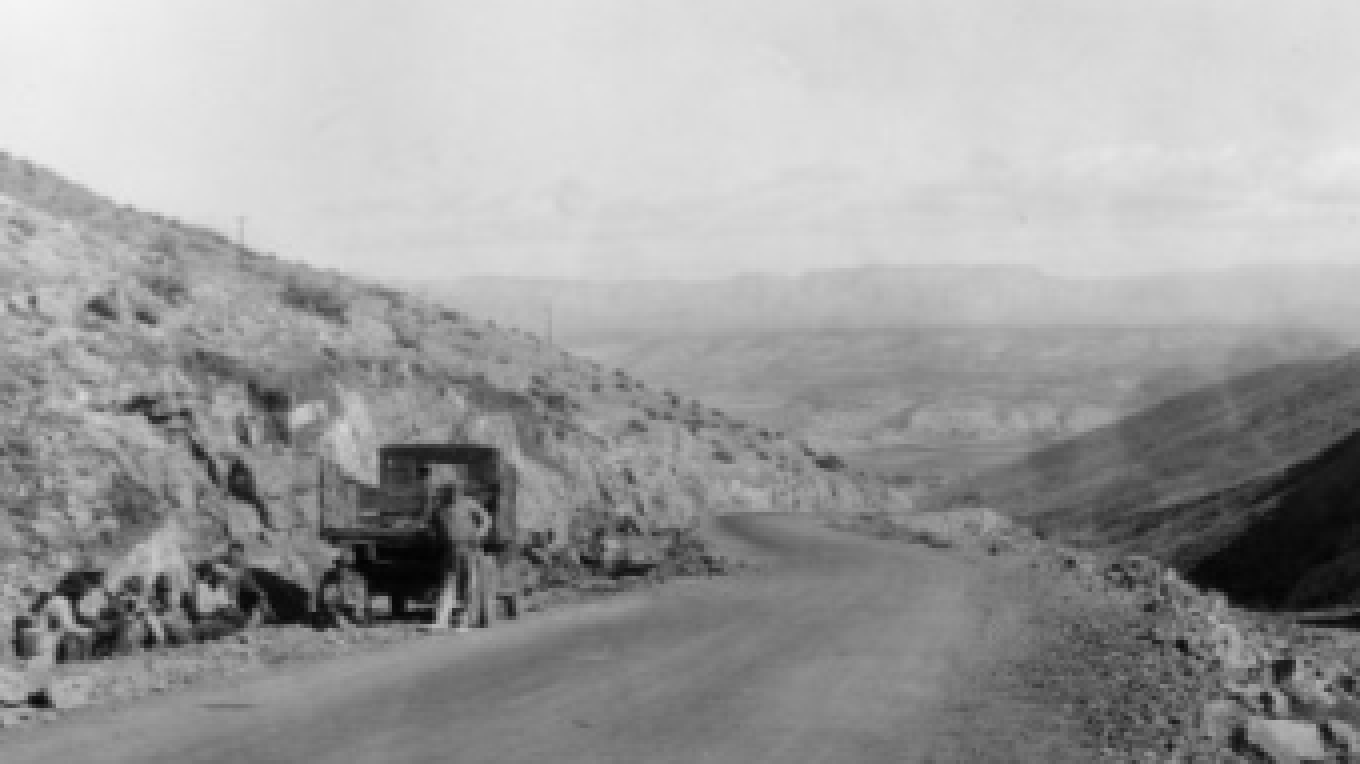 Route under improvement 1930's. Looking down present-day 89A towards Clarkdale – D.M.