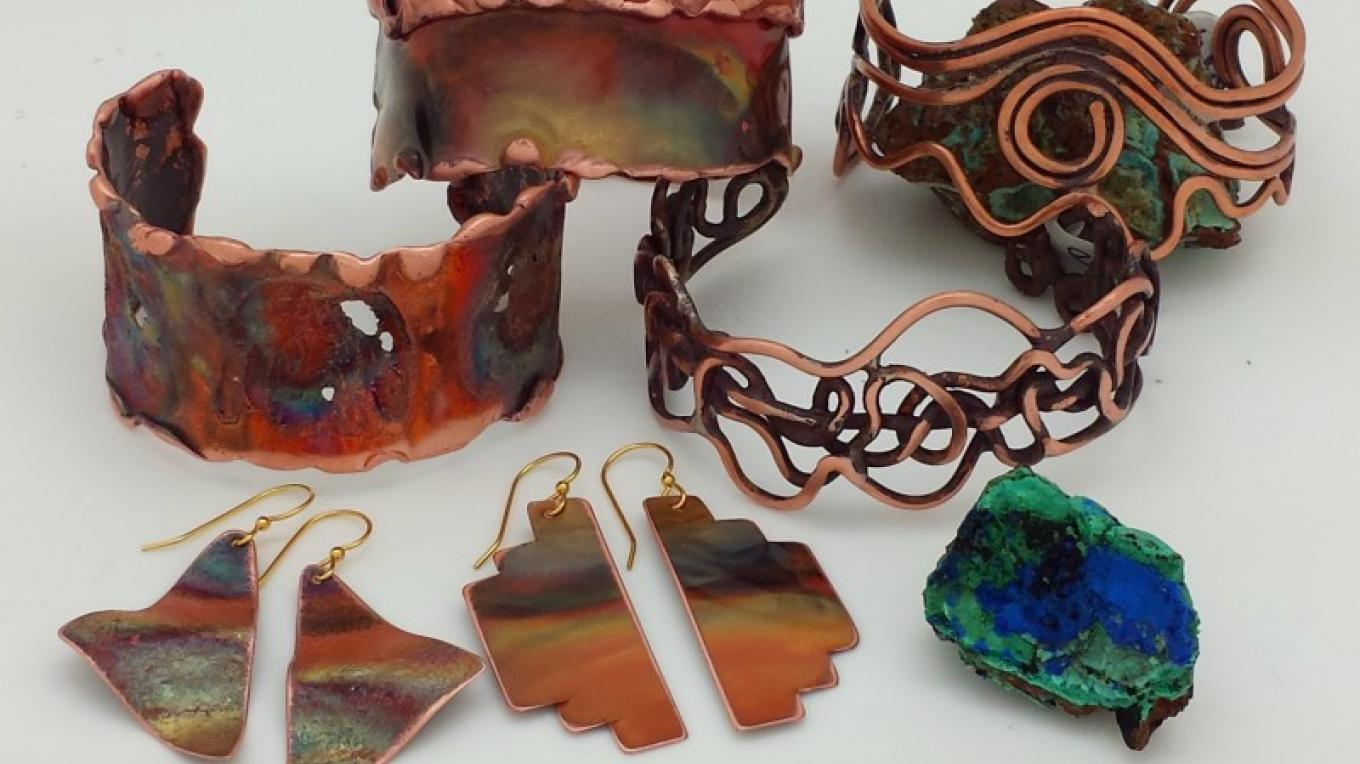 Local copper jewelry by artists Gene Sabia and Jay Sabol. – Maureen Anderson