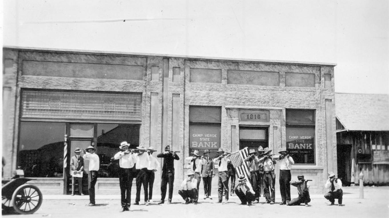 In 1917 the residents formed the Home-guard because they believed Poncho Villa was on his way to the Verde Valley. – Courtesy Camp Verde Historical Society
