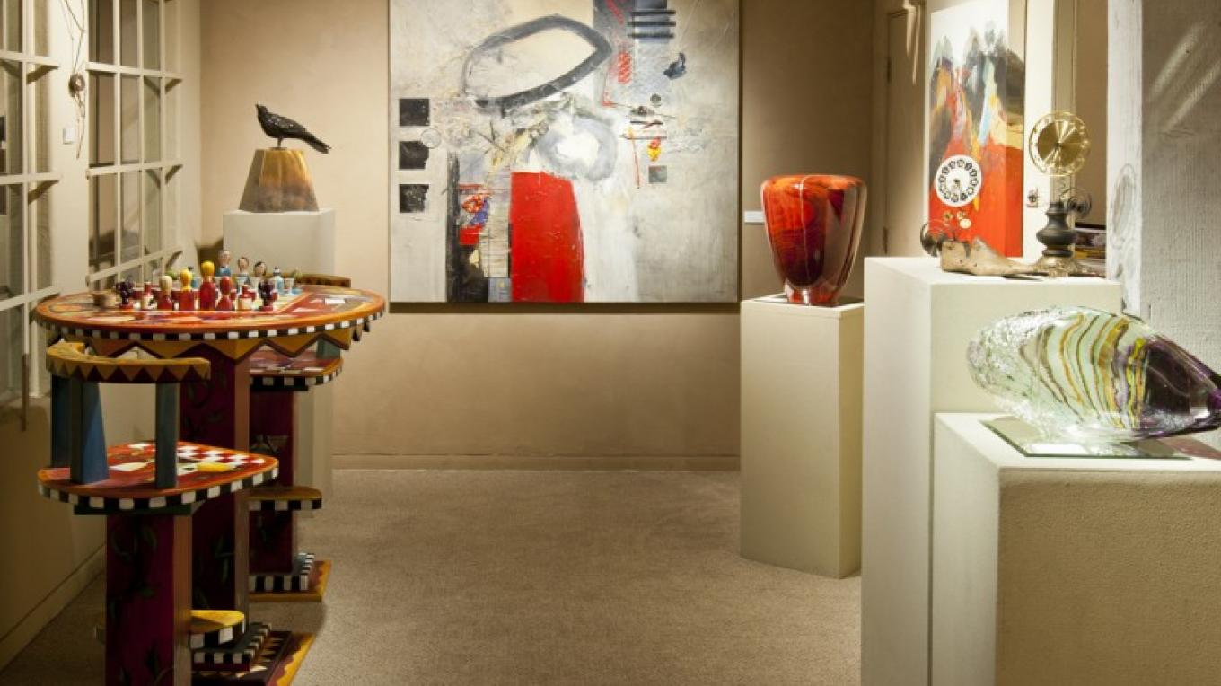 Art furniture by Sticks, in great variety, is offered at Lanning Gallery, including custom work. Artwork by Gregory Dean, Bob Smith and Randi Solin is also shown here. – courtesy Lanning Gallery or Michael Thompson