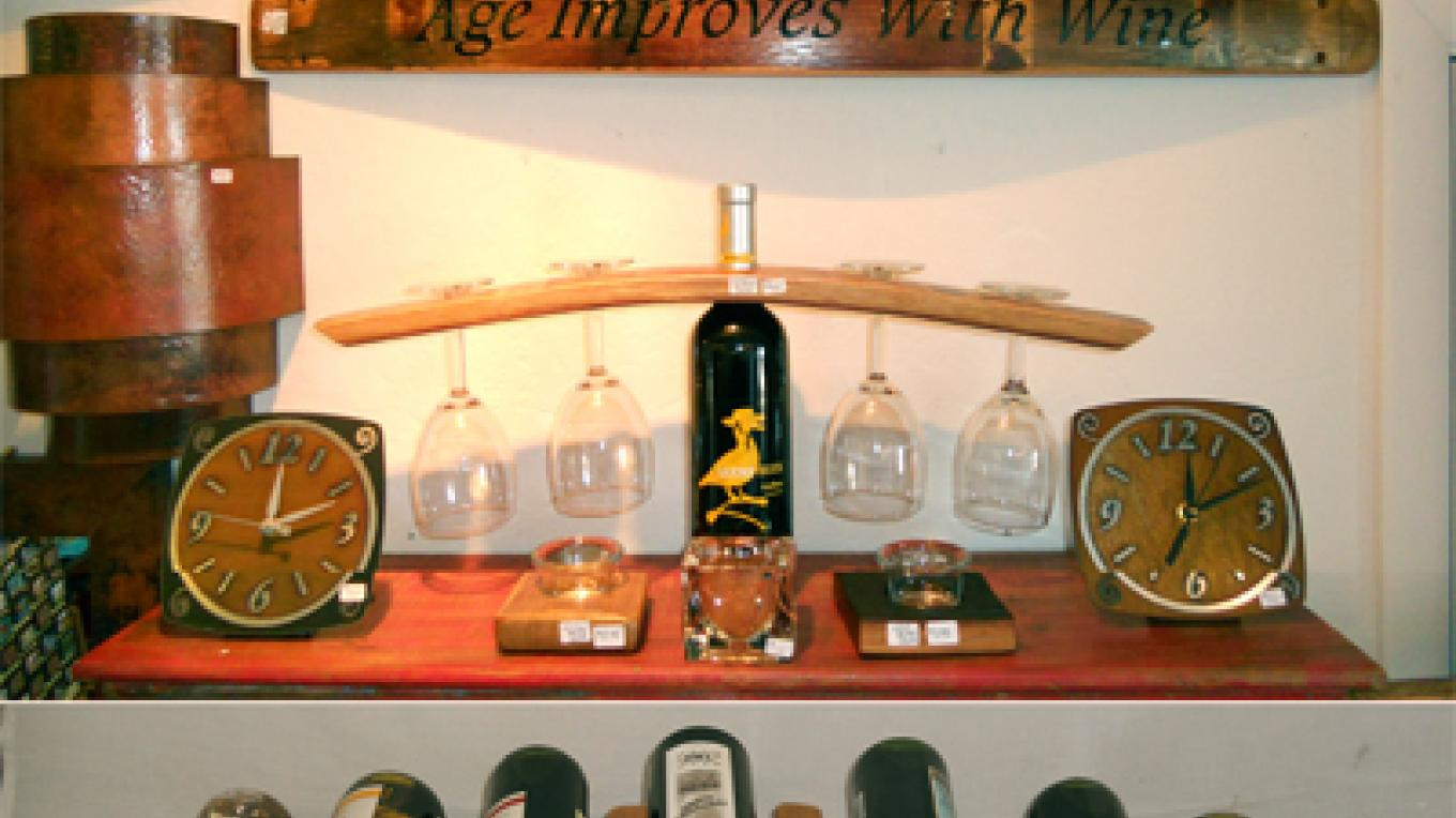 Hand Made Wine Barrel Stave Works, Metal Desk Clocks and Copper Scone – Andrew Hartnett