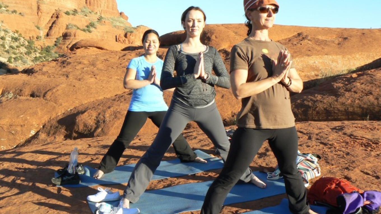 Three Prayerful Yogis at Bell Rock – Johanna Mosca