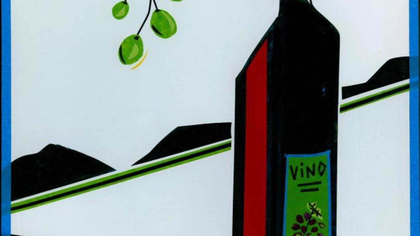 "Original Masking Tape Art on wood panel, entitled ""Vino"" by Beth Courtright Detwiler. – Word is Art"