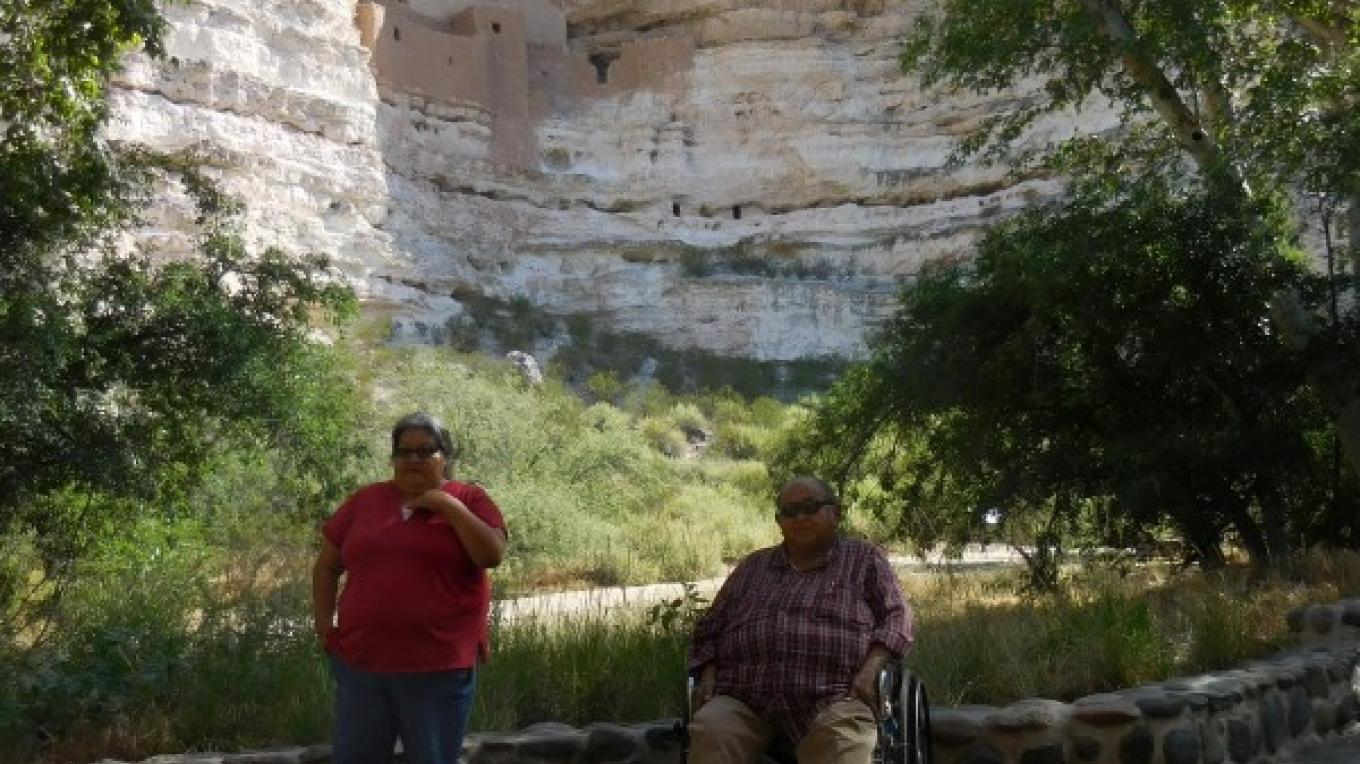 Gertrude Smith Yavapai Culture Director and Vincent Randall Apache Culture Director provided a history and culture presentation to Junior Rangers, summer 2015 – NPS photo