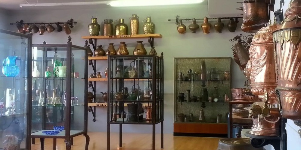 Drinkware collection. Consisting of 100's of copper steins, tankards, and everything else that held beer, wine, milk, water, etc. – Arizona Copper Art Museum