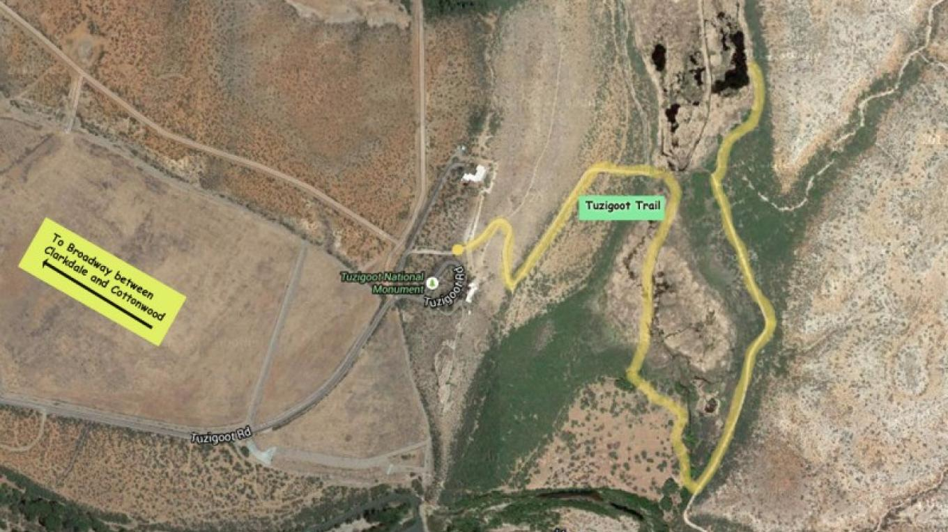 The Tuzigoot Trail Route – Adapted from Google Earth