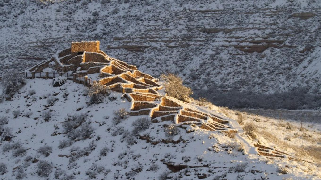 Tuzigoot National Monument blanketed in snow. – Doug Von Gausig