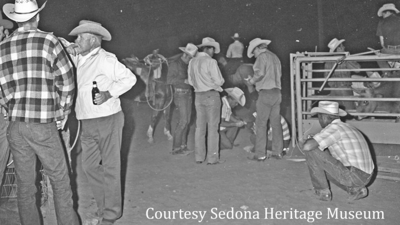 Cowboy artists at Sedona's rodeo grounds after their annual trail ride, 1972. (L - R) Charlie Dye CAA, John Kittleson CAA, Joe Beeler CAA, Dick Hill CAA, Frank Polk, Heath Burrus. – Elizabeth Rigby, Courtesy Sedona Heritage Museum