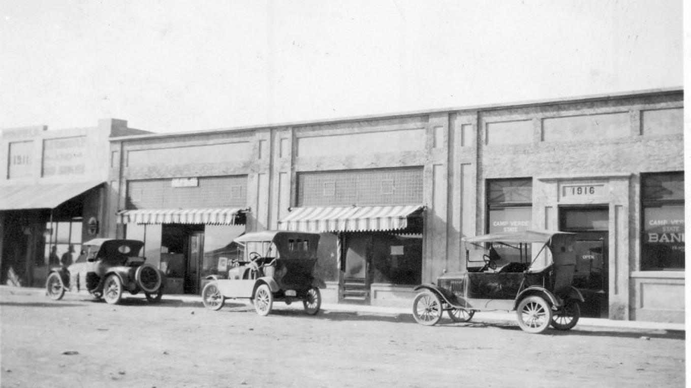 1917 Photo of the Wingfield Building, where the barber pole is, is where our Udderly Divine Ice Cream Shop is. – Courtesy Camp Verde Historical Society