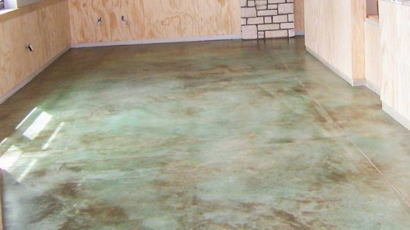 Stained concrete floors are hypo-allergenic, and provide mass for passive solar heating and cooling. – USDA Forest Service