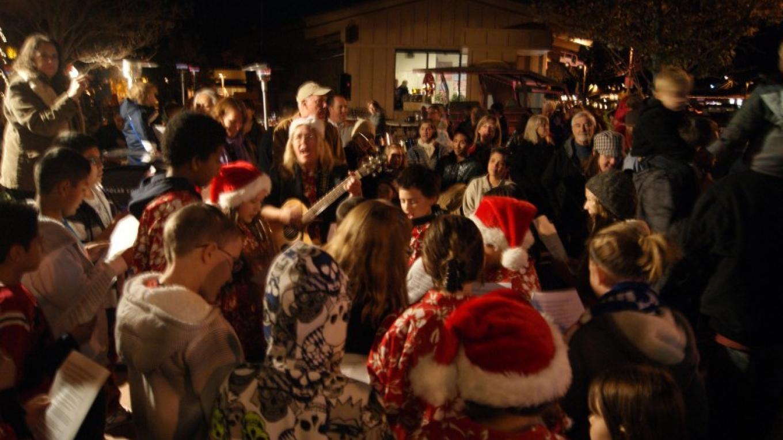 West Sedona Elementary School Carolers sing while children visit with Santa – Sedona Main Street Program