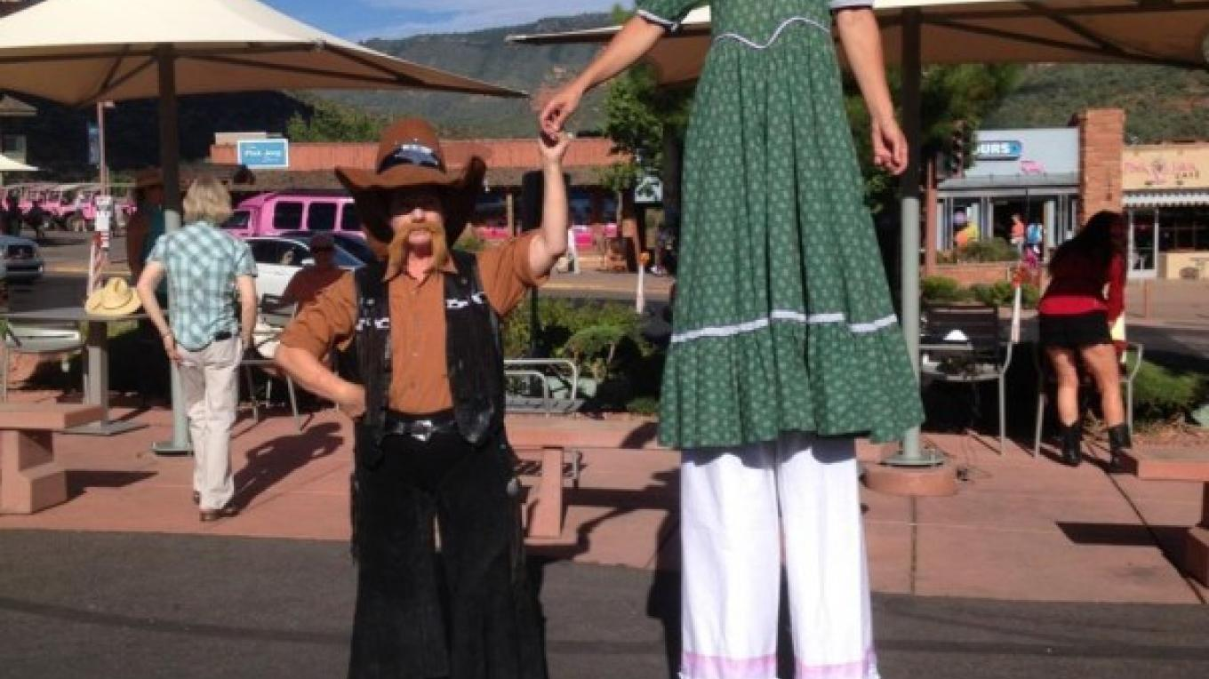 Costumed characters with stiltwalker – Sedona Main Street Program