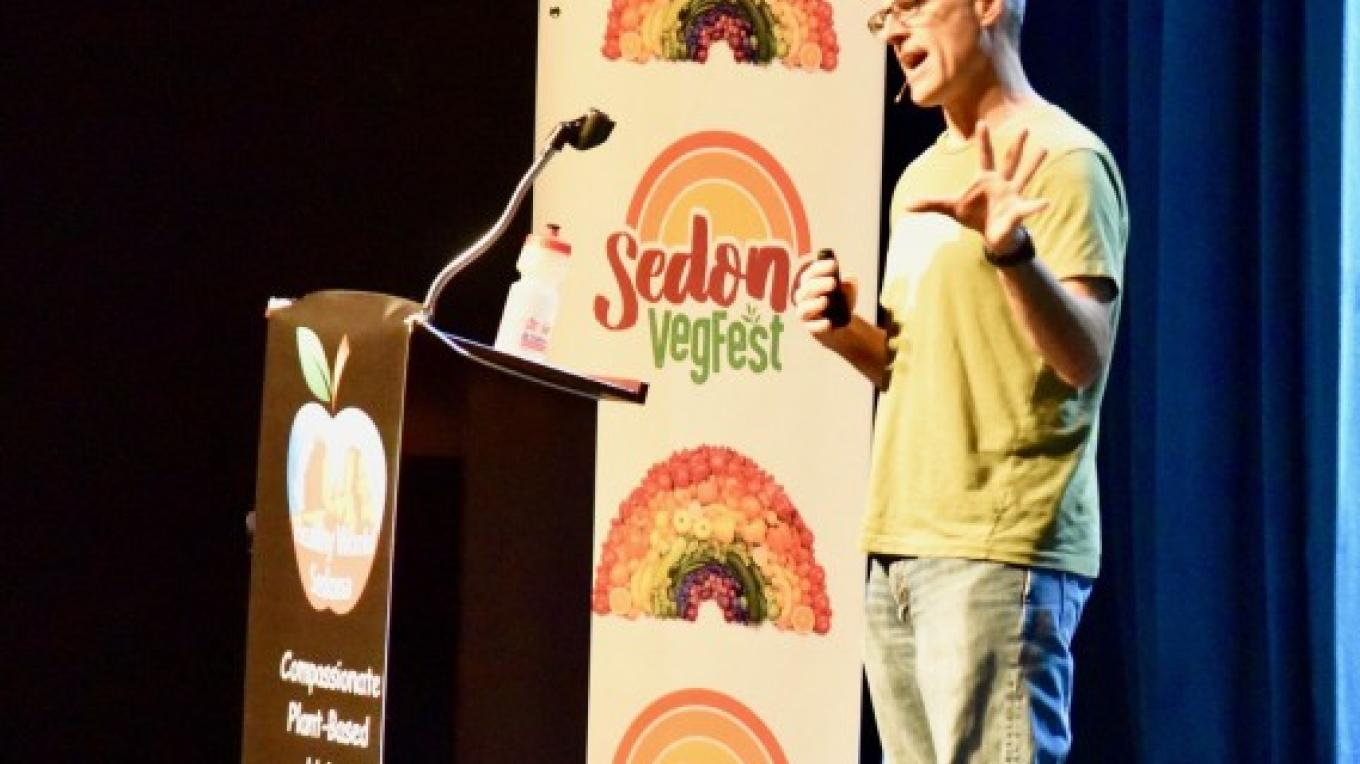 Gene Baur spoke about the humane treatment of animals at VegFest 2017. – Don Fries