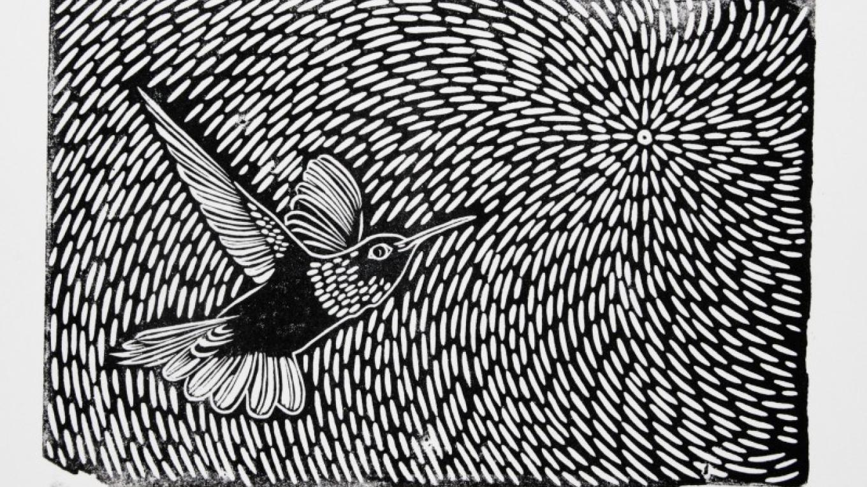 2017 linoblock HUMMINGBIRD OF THE HEALING HEART – Renick Turley, Krystal Hanson