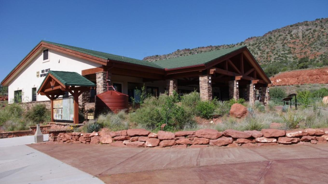 Red Rock Ranger District Visitor Center exterior showing part of the native plant garden in the foreground. – Nina Hubbard