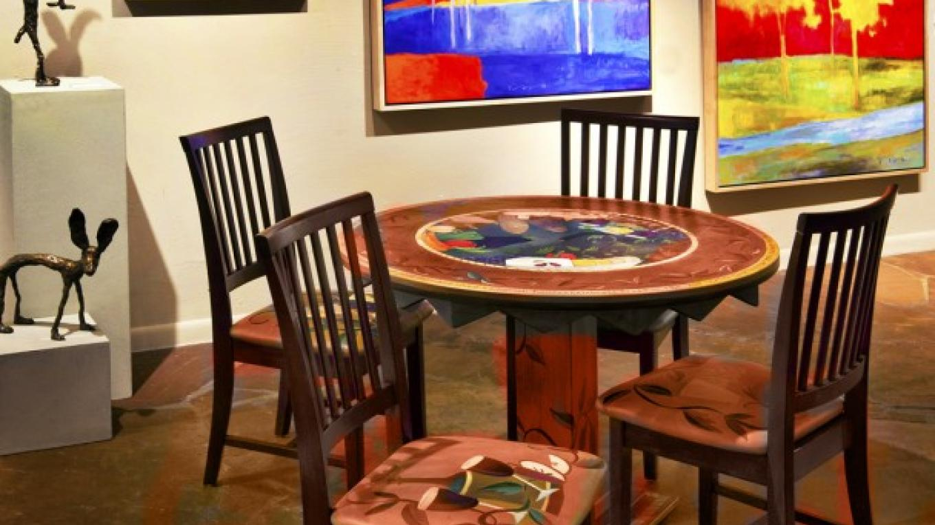 From left to right: Chris Deverill bronze scultures, Marshall Noice oil paintings, Sticks art furniture. – courtesy Lanning Gallery or Michael Thompson