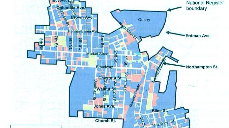 Map of the Bangor Nationally Registered Historic District. – Sharon J. Davis, Slate Belt Community Partnership