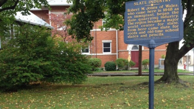 History of Slate/Bangor Founding memorial. In Bethel Park at Market (Route 512) and 1st (Route 191) Streets, Bangor. – Sharon J. Davis, Slate Belt Community Partnership