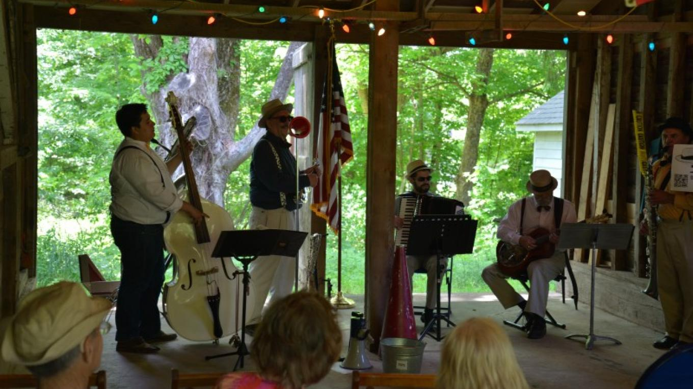 Ramsaysburg Homestead Site - Summer Concert Series in the Barn. Yuke and the Working Class Bohemians play as part of a summer long series of free concerts. – Ken Metcalf