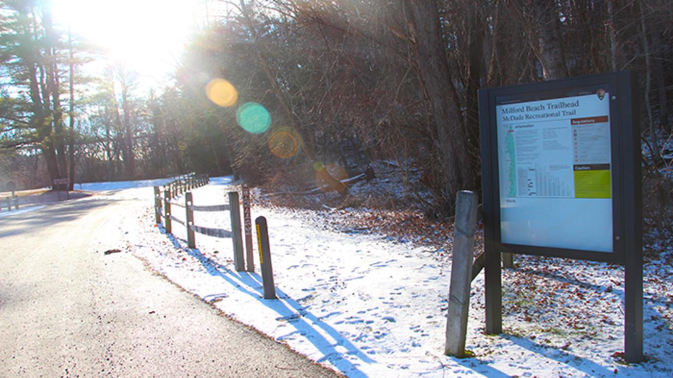 The McDade Trailhead at Milford Beach. The McDade trail runs for 31 miles south of Milford Beach. – National Park Service