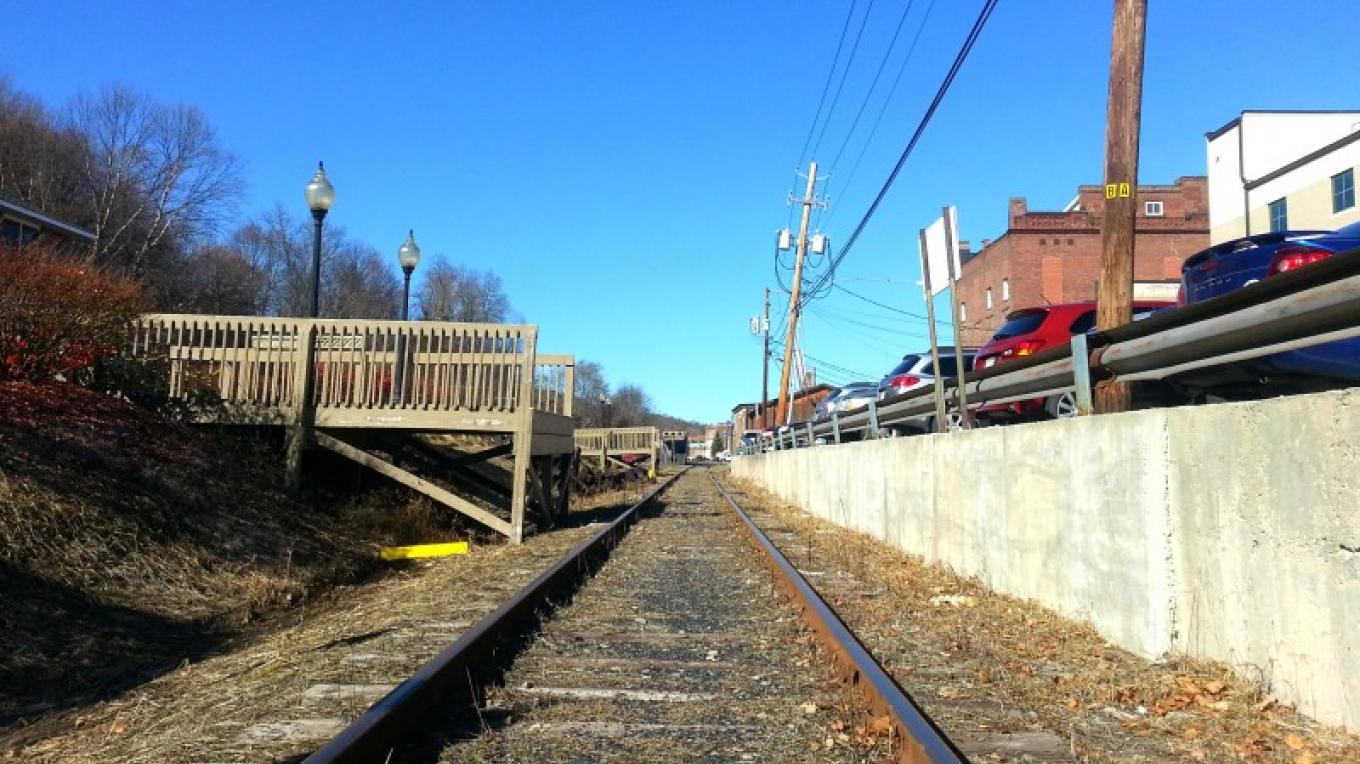 Stourbridge Line railroad tracks near visitors' center, looking north. Train excursions recently returned to Honesdale. – Derek F. Williams