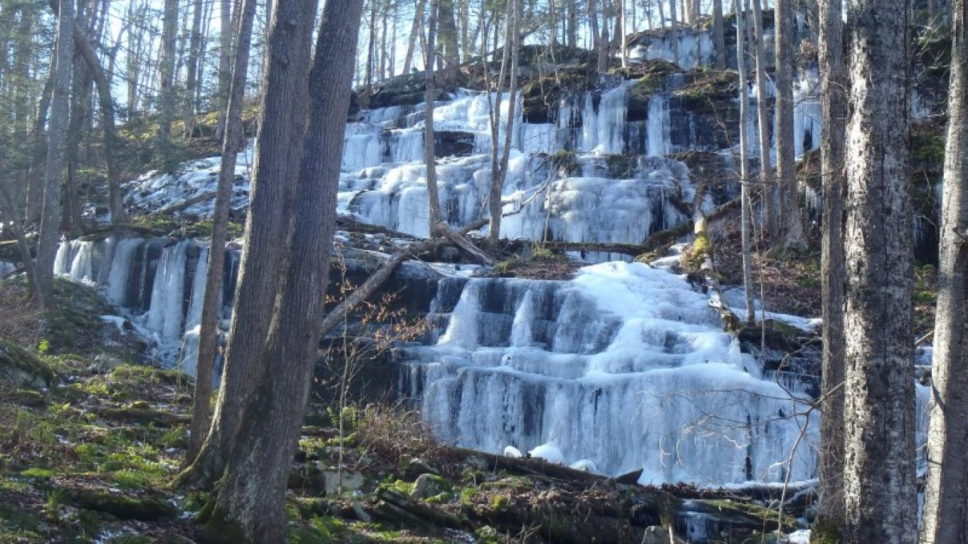 Ice formations that form in winter on bluestone outcroppings. – Garrett Beers