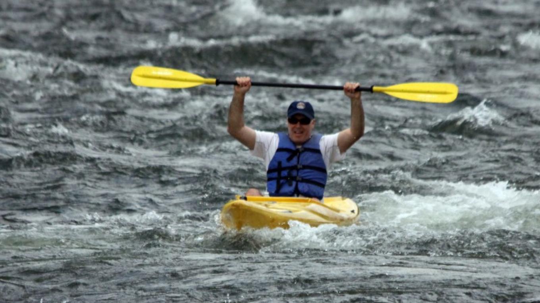 Kayaking through Skinners Falls always thrilling! – Photograph by: Lisa Lander