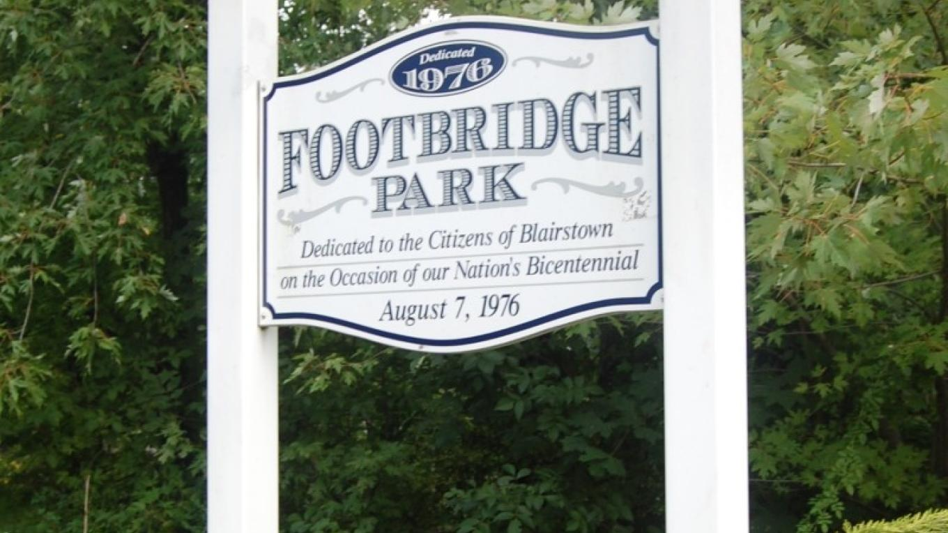 Footbridge Park was created by John Edward Bouton and dedicated in 1976. The park was once the home of the Blairstown Railway, along with a lumberyard and creamery – Christine Beegle