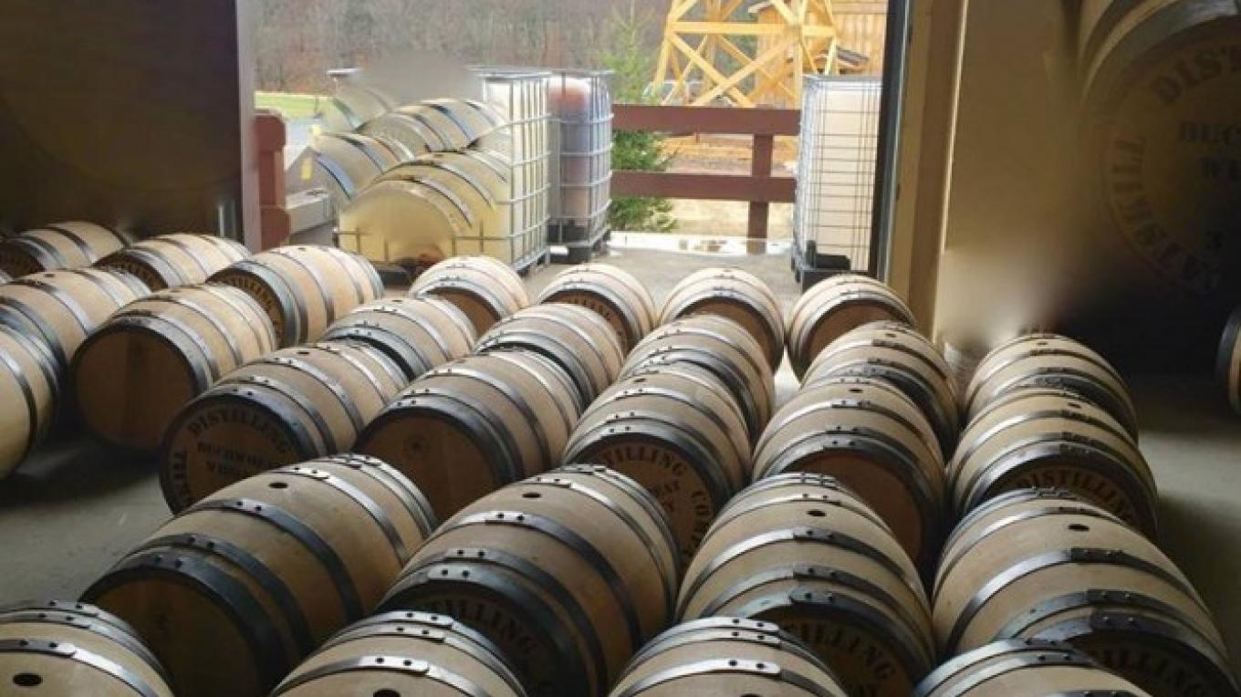 Barrels of Whiskey on their way to age in the Barrel House – Jerry Cohen