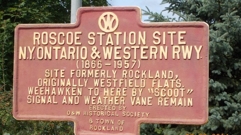 Sign showing site of original Roscoe O&W Railway Station – Judie DV Smith