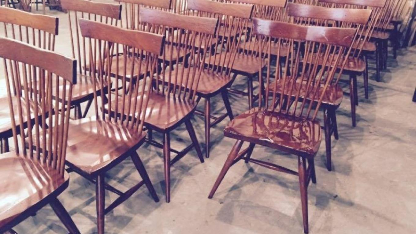 Contemporary Windsor chairs in finishing room. Ready to ship.