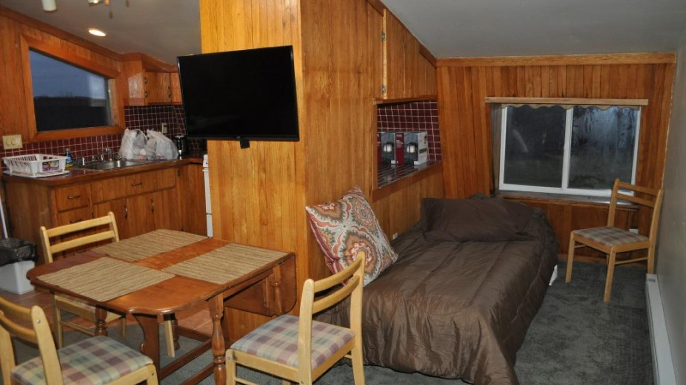 Twin bed, HDTV with cable, dining table and efficiency kitchen in Carriage House apartment