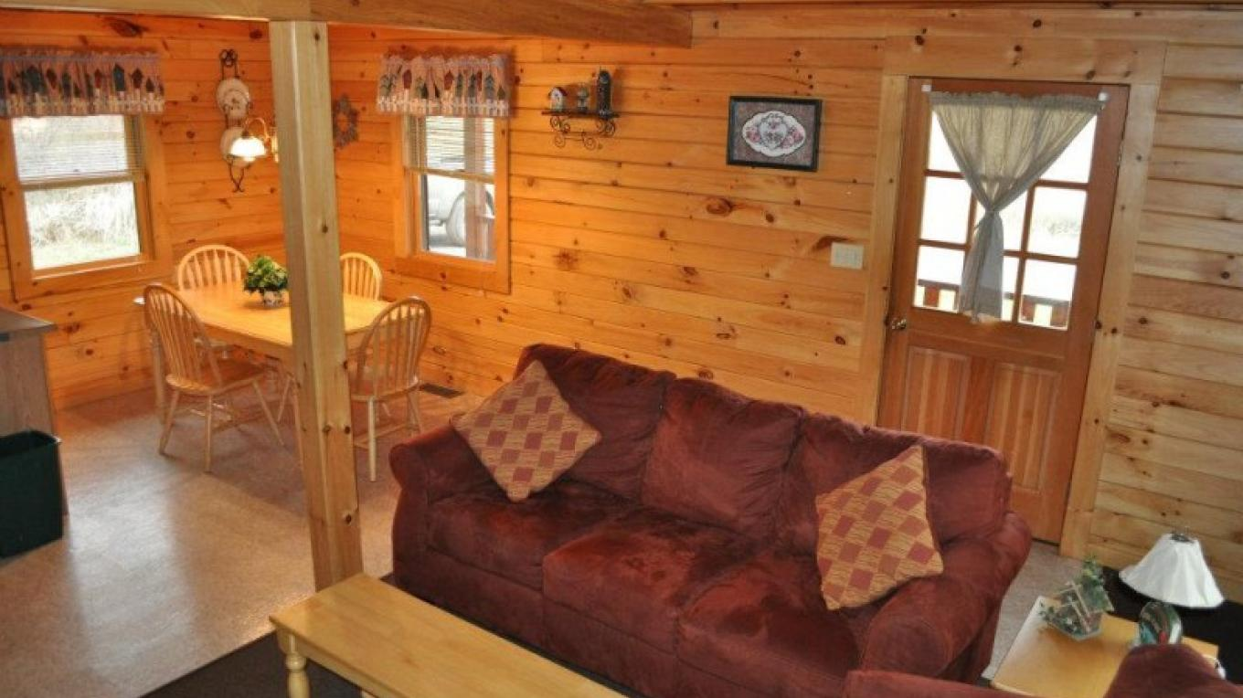 The open floor plan on the first floor give the cabins that airy, homey feel. – Staff