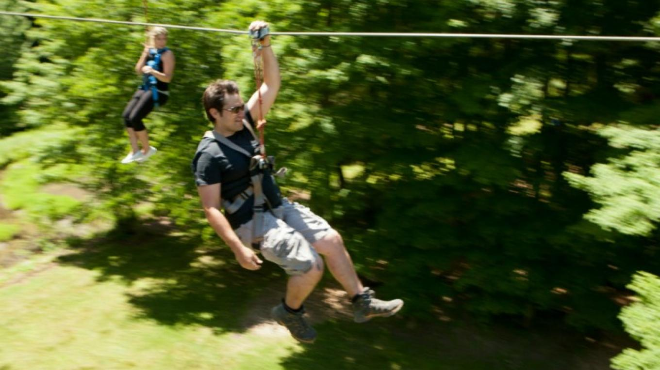 Pocono Zip Racer lets you experience a birds eye view of the trees as you fly down the dual 1,000 ft racing zip lines located within walking distance to The Villas at Fernwood Resort. – David Coulter