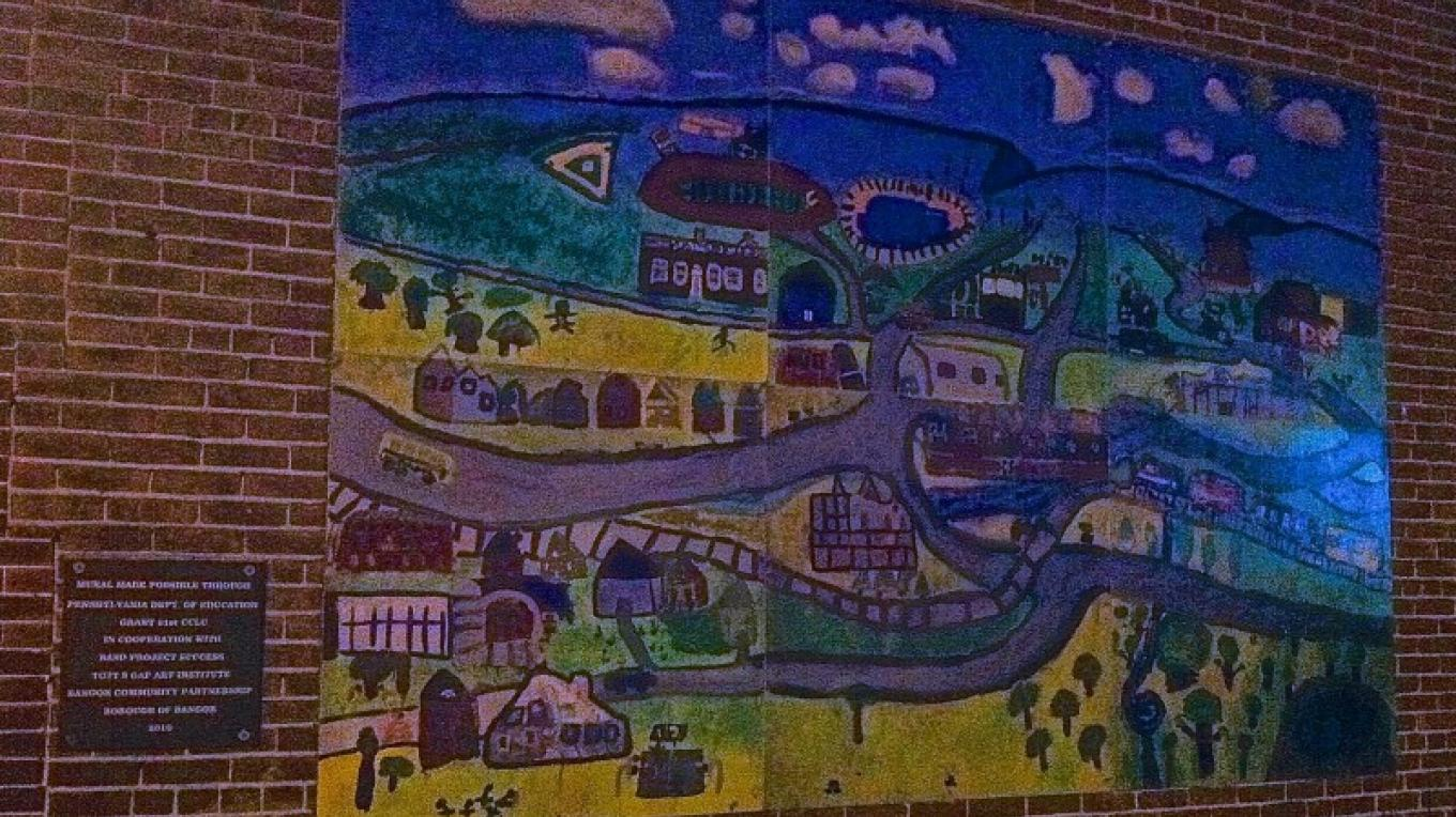"""Our Town"" mural on 22 S. Main street in Bangor. – Photograph by: Totts Gap Arts Institute"