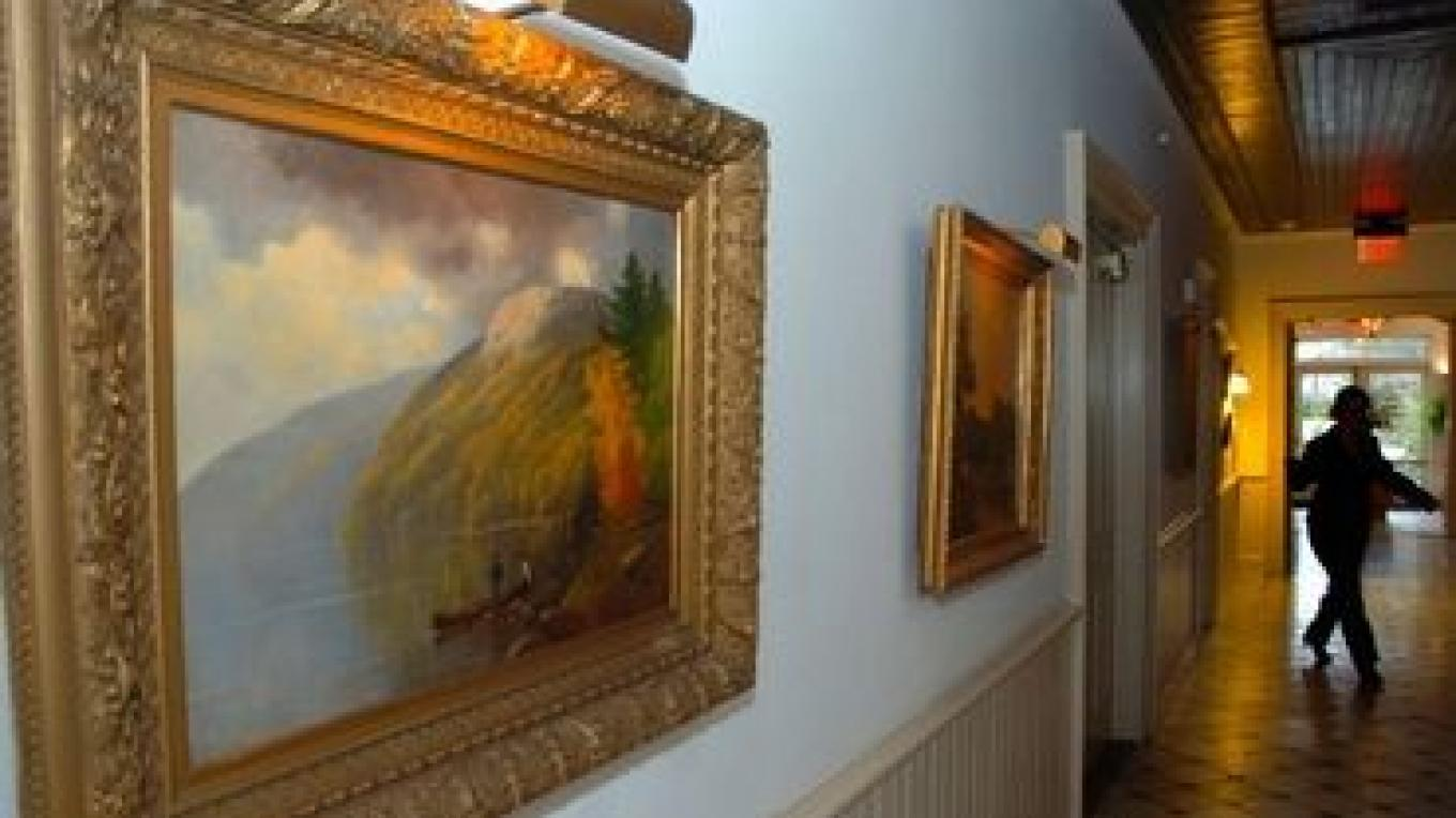 The public spaces in the hotel include a permanent exhibit of a collection of Hudson River School paintings.