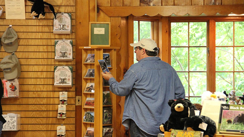 Visitor perusing postcards at Dingmans Falls Visitor Center. – National Park Service