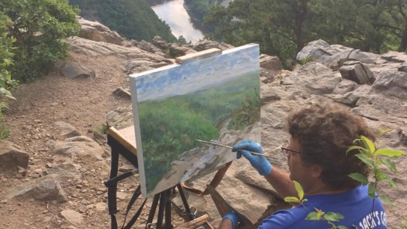 Painting View from Mt Tammany, Delaware Water Gap Natl. park. – james gloria