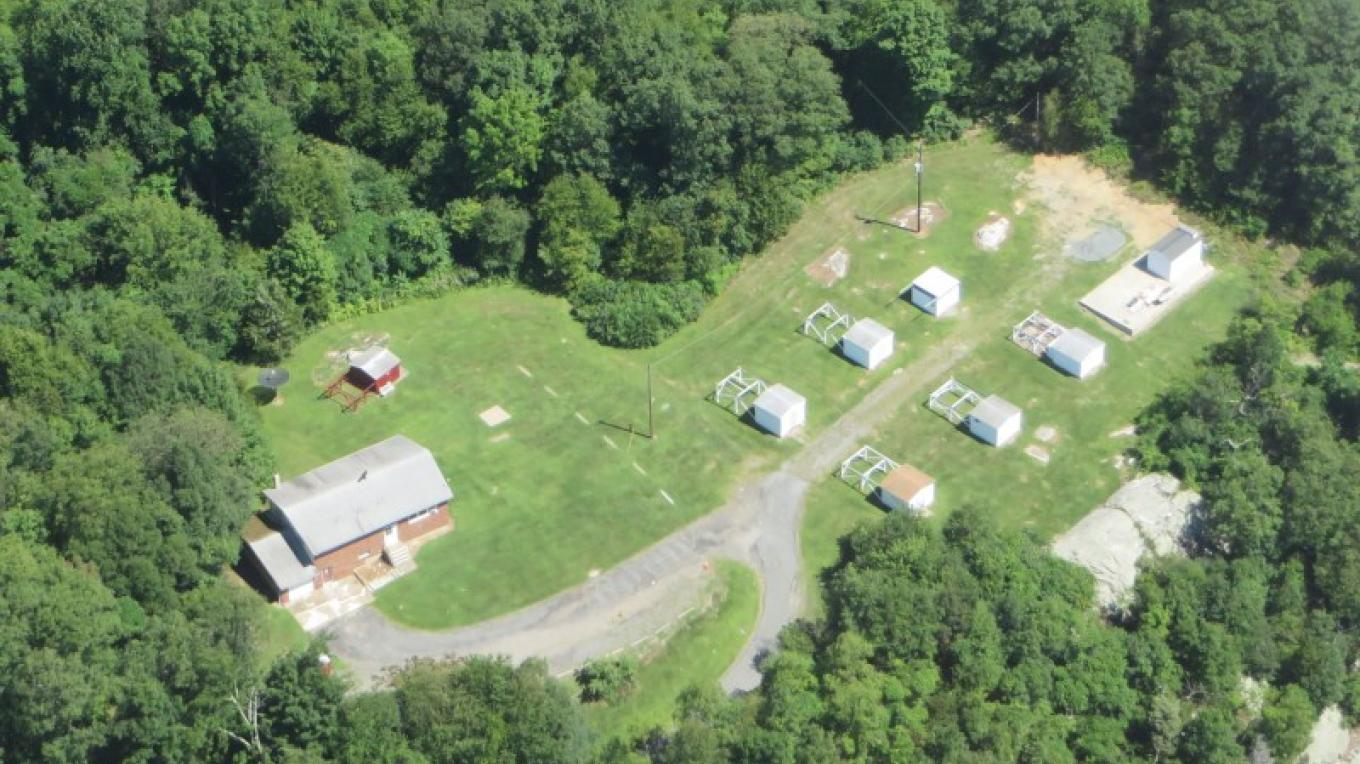 Aerial view of United Astronomy Clubs facility in Jenny Jump State Forest – Gil Jeffer