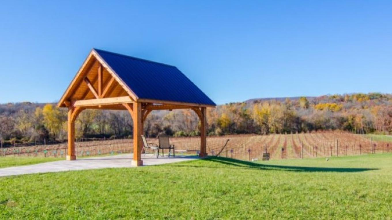 The best seat in the house overlooking the vineyard and Delaware Water Gap!