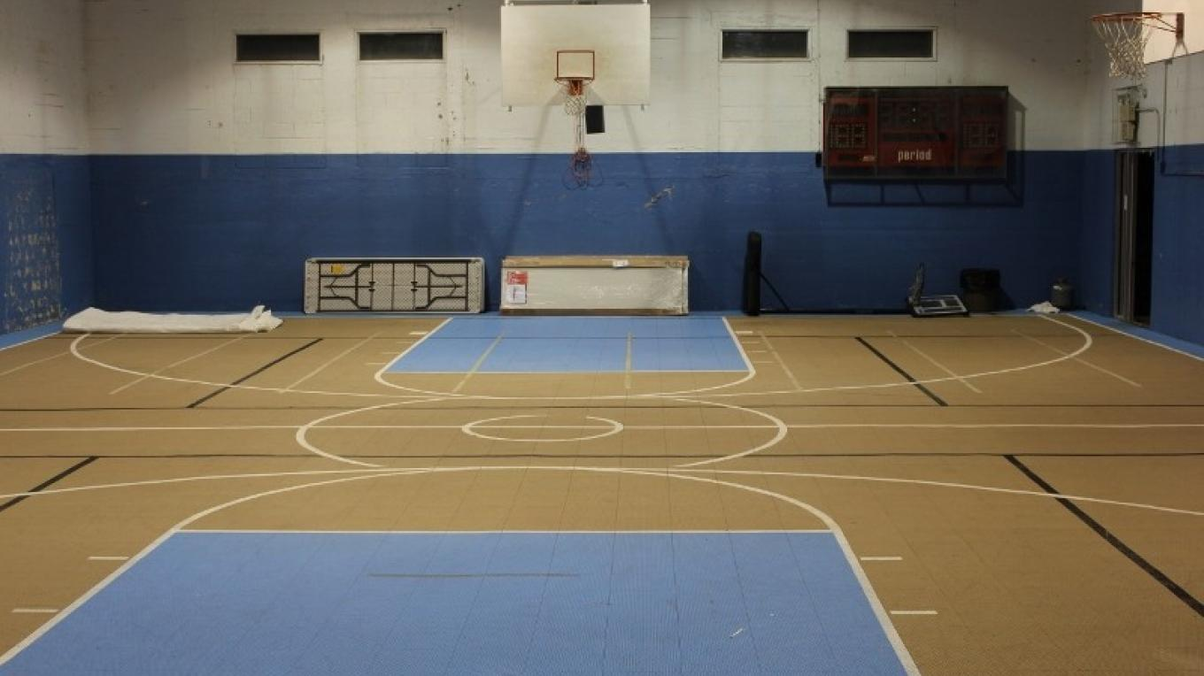Portland gymnasium- Looking at the basketball court from the stage – Yvonne Gumaer/Heather Fischer