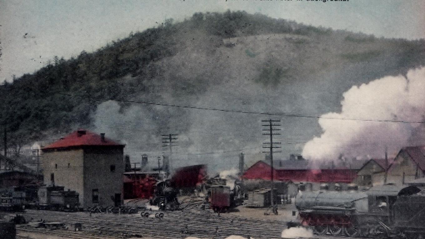 Erie Railroad Shops at Port Jervis - Mt William in the background – Postcard