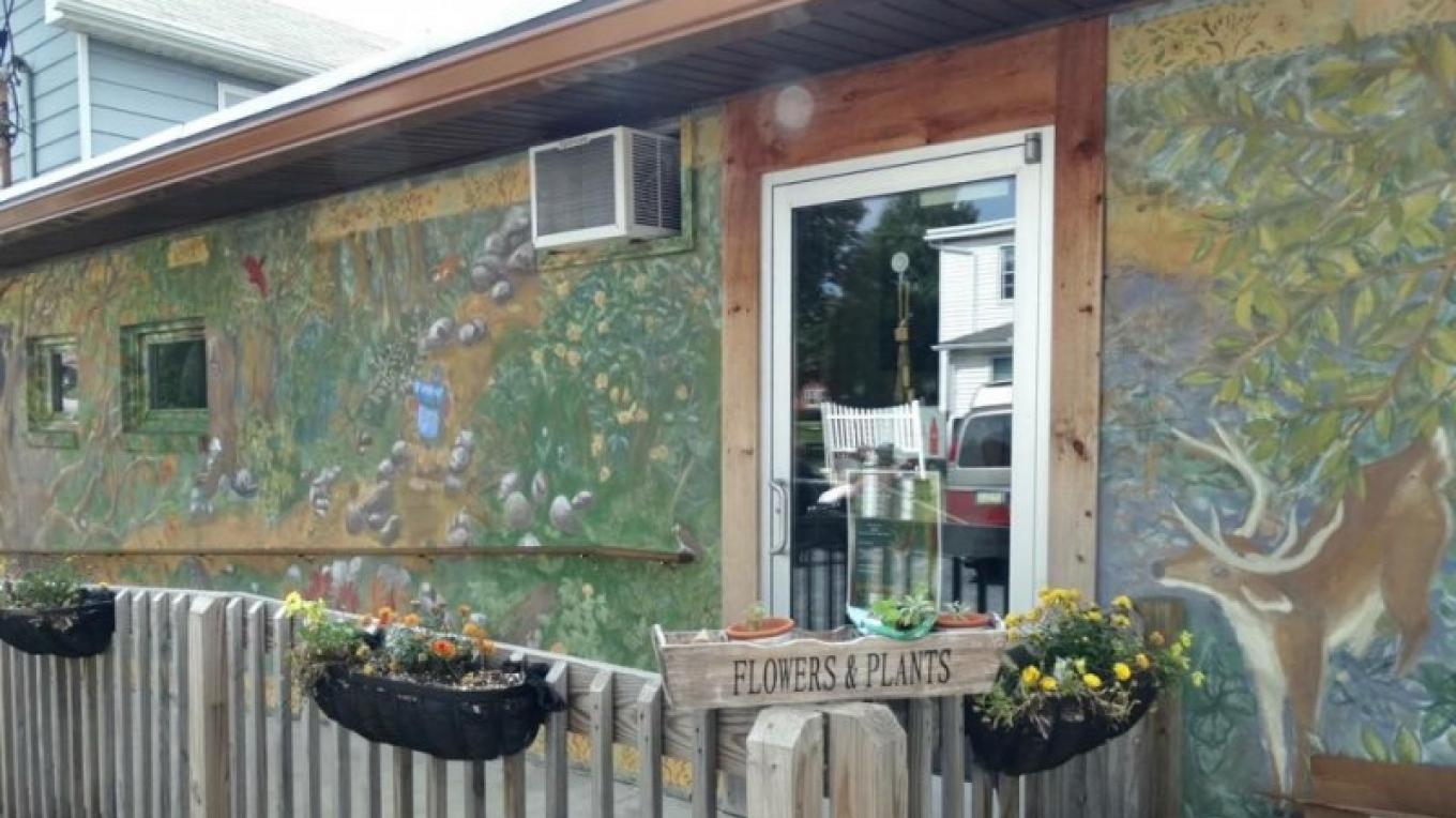 "The ""On the Appalachian Trail"" Mural, Cafe on Broadway, Wind Gap – Property of the Slate Belt Community Partnership"